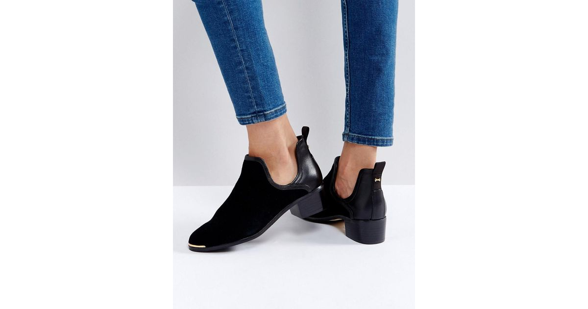 bfc6b52c3d97 Lyst - Ted Baker Twillo Cut Out Black Suede Flat Ankle Boots in Black