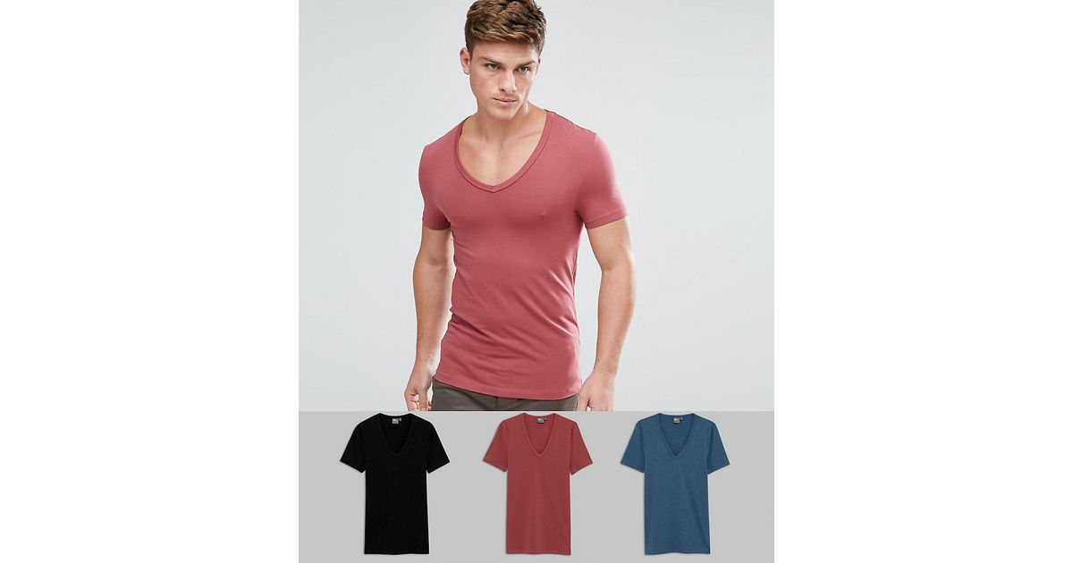 8695438e0 ASOS Extreme Muscle Fit T-shirt With Deep V Neck 3 Pack Save for Men - Lyst