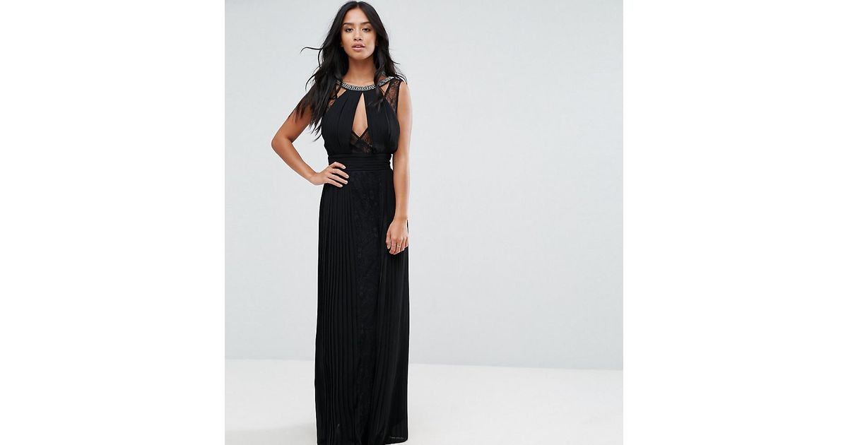 TFNC London High Neck Embellished Maxi Dress With Lace Insert in Black -  Lyst e48f7c089