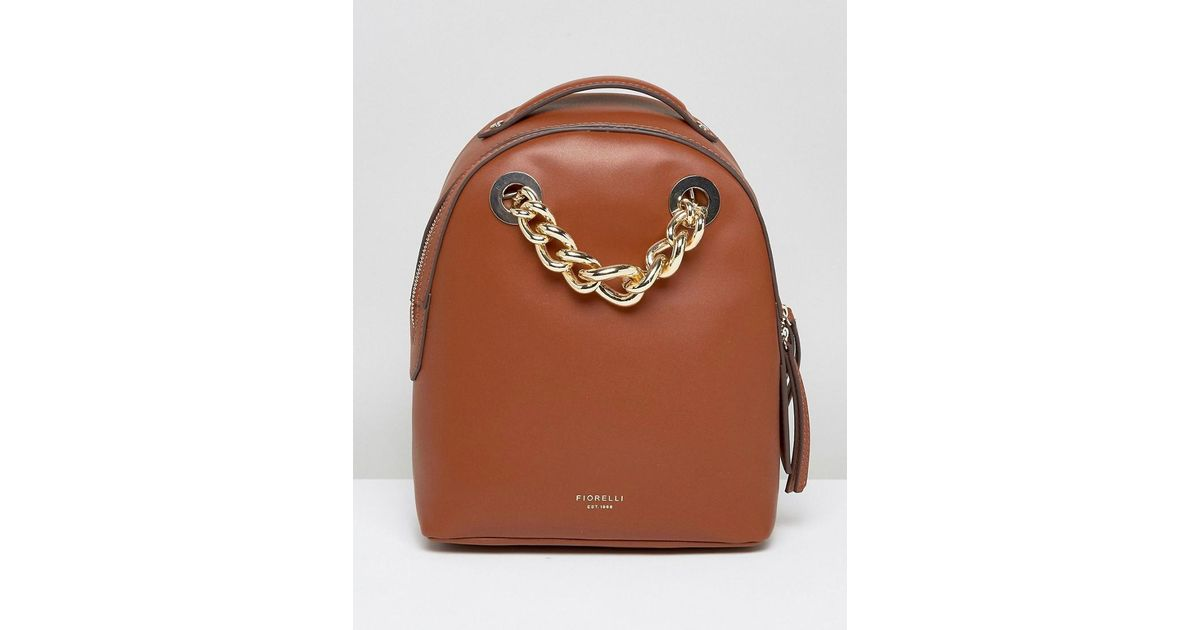 Lyst - Fiorelli Anouk Mini Backpack In Tan With Chain Detail in Brown