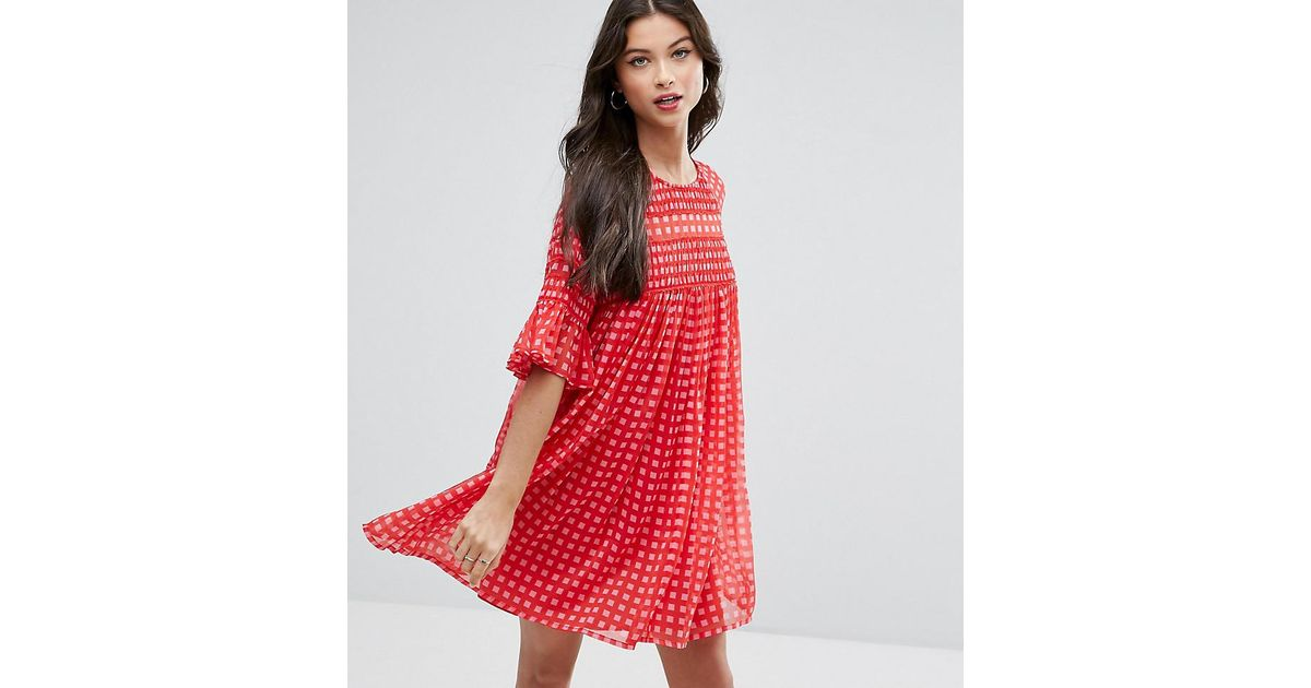 1d4c259d0e582 ASOS Gingham Smock Mini Dress With Shirring Detail in Red - Lyst