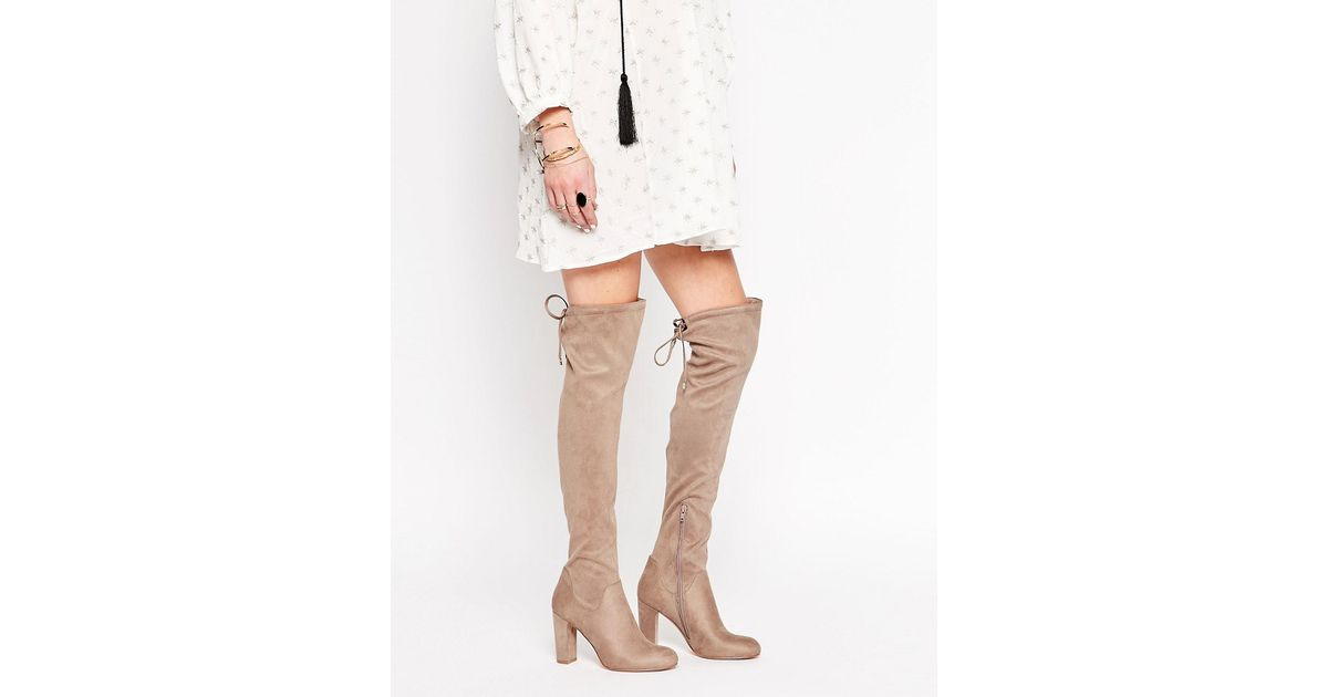 Carvela kurt geiger Pace Over The Knee Boots in Natural (Taupesuedette