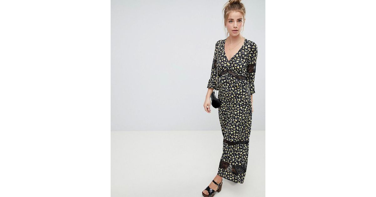 58feae53ce5 ASOS Maxi Tea Dress In Floral Print With Lace Inserts in Black - Lyst