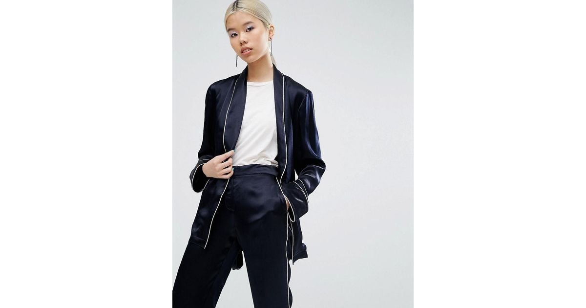 097f0d9968e5 ASOS Pajama Kimono Blazer With Piping in Blue - Lyst