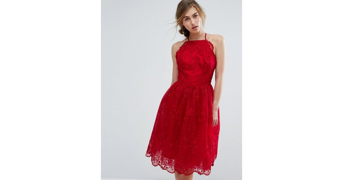 c8da4c80a Chi Chi London High Neck Scalloped Lace Dress in Red - Lyst