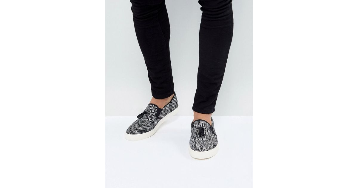 ASOS Slip On Plimsolls In Geometric Satin With Tassel cheap pay with visa store buy cheap best seller CO6CZHi3