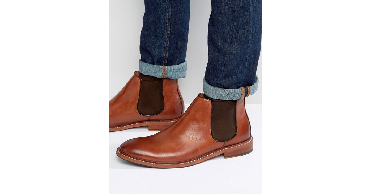 Dune Mencia Leather Chelsea Boots In Brown For Men Lyst