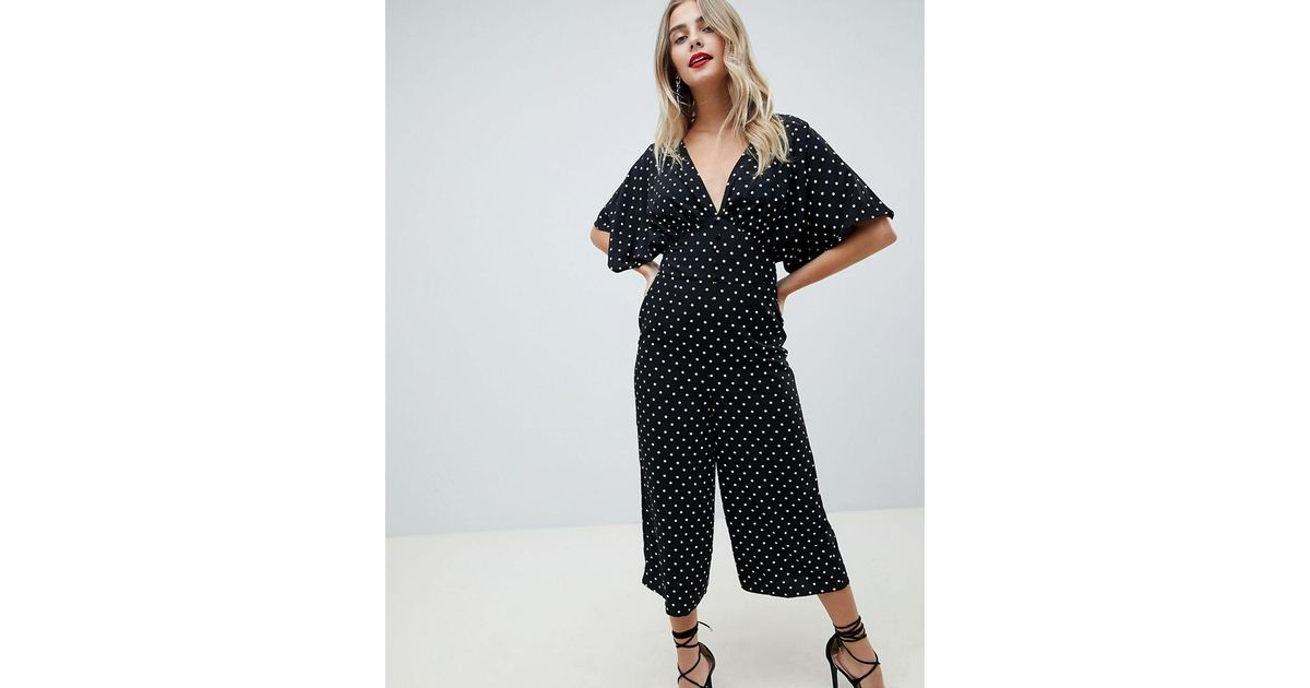 264fe3760ce7 ASOS Tea Jumpsuit With Kimono Sleeve And Button Detail In Spot Print - Lyst