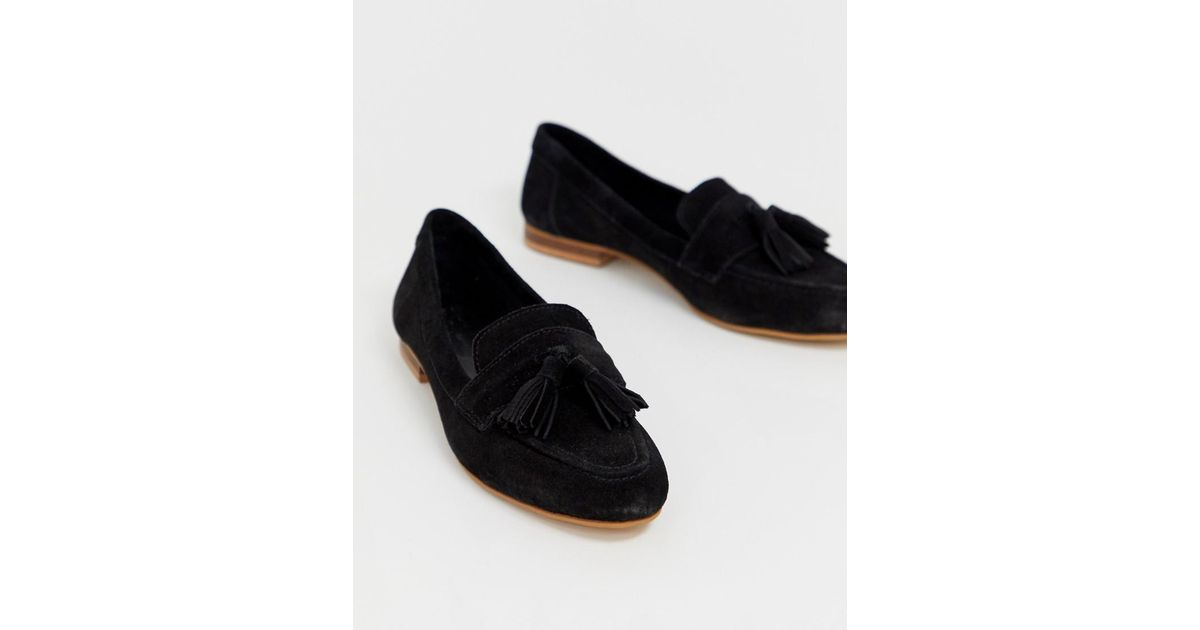 06e161872 Lyst - ASOS Wide Fit Messenger Suede Tassel Loafers in Black - Save 41%