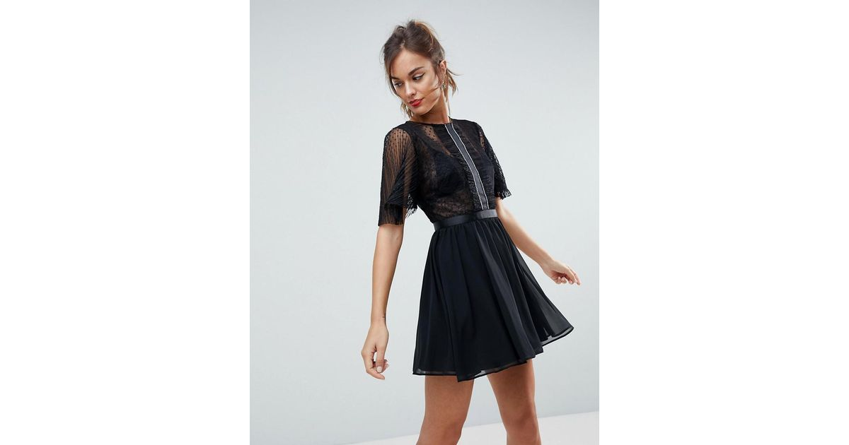 830b5de2cdb3d Lyst - ASOS Dobby Flutter Sleeve Mini Dress With Embellished Trim Panel in  Black