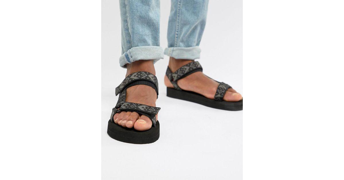 f0a523398 Lyst - ASOS Tech Sandals In Aztec Tape in Black for Men