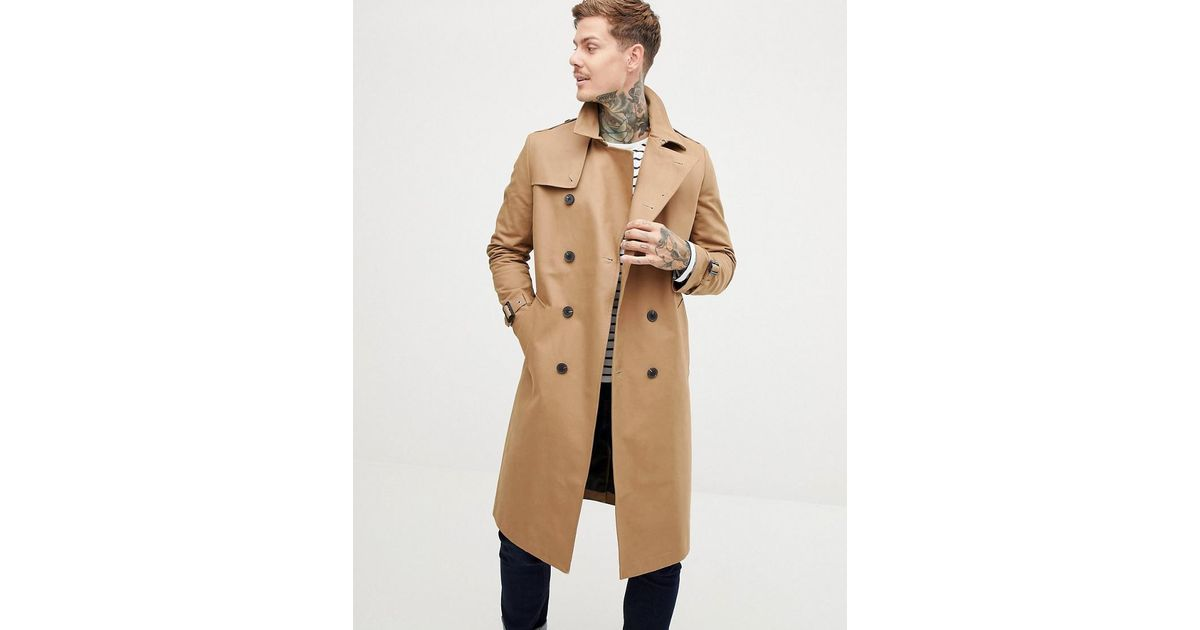 d464605c3 ASOS Shower Resistant Longline Trench Coat With Belt In Tobacco in Brown  for Men - Lyst