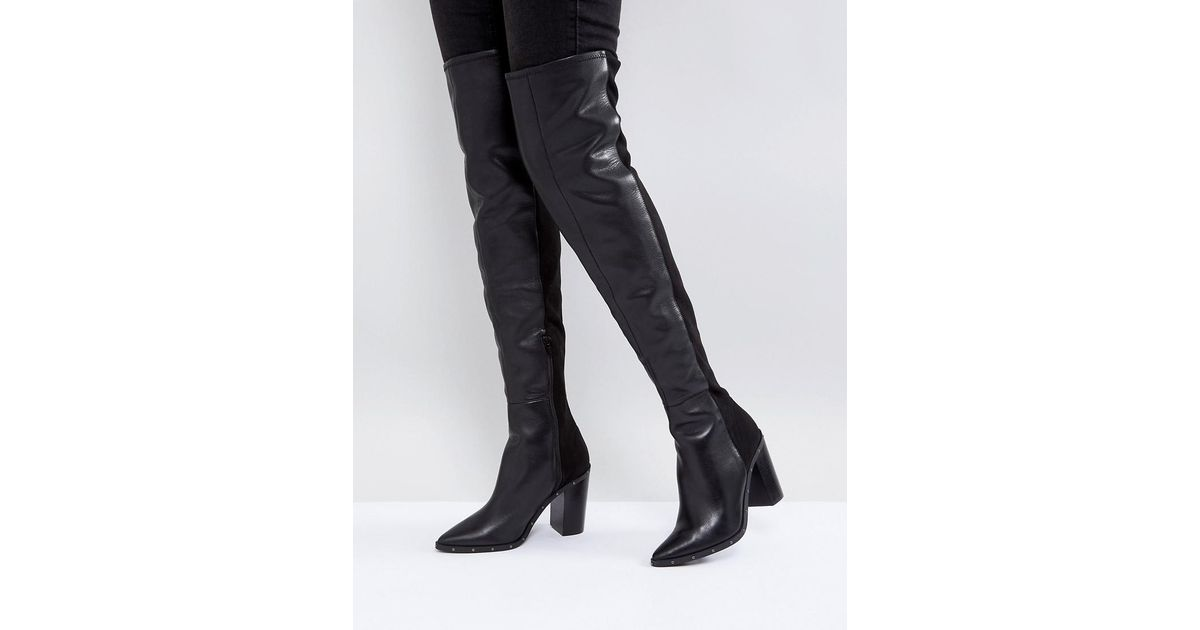 1db38caac55 ALDO Thirassa Leather Studded Over The Knee Boots in Black - Lyst