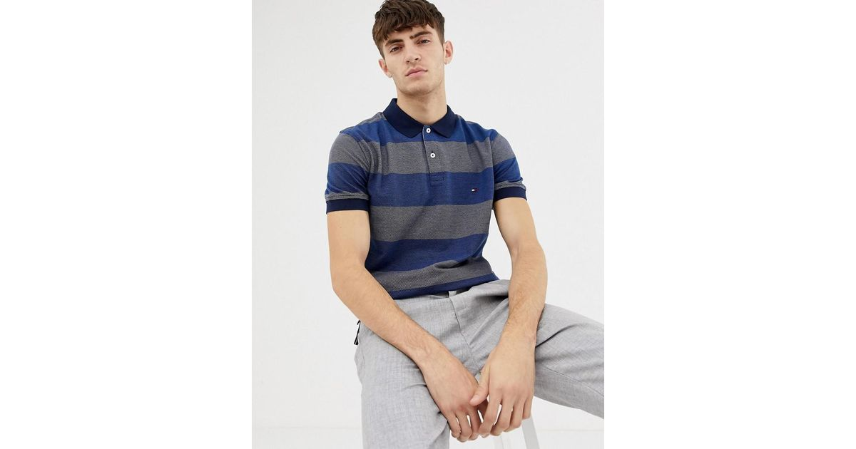 905f630c Tommy Hilfiger Jacquard Striped Polo Shirt in Blue for Men - Lyst