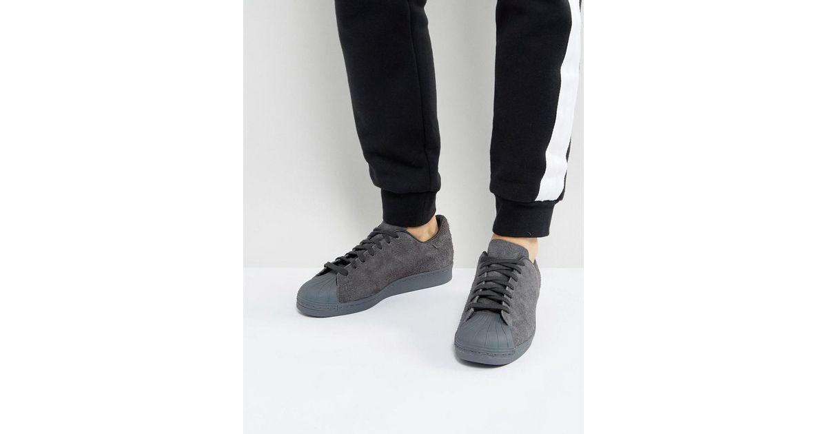 best service da1af 46d4d Lyst - adidas Originals Superstar Trainers In Grey Bz0566 in Black for Men