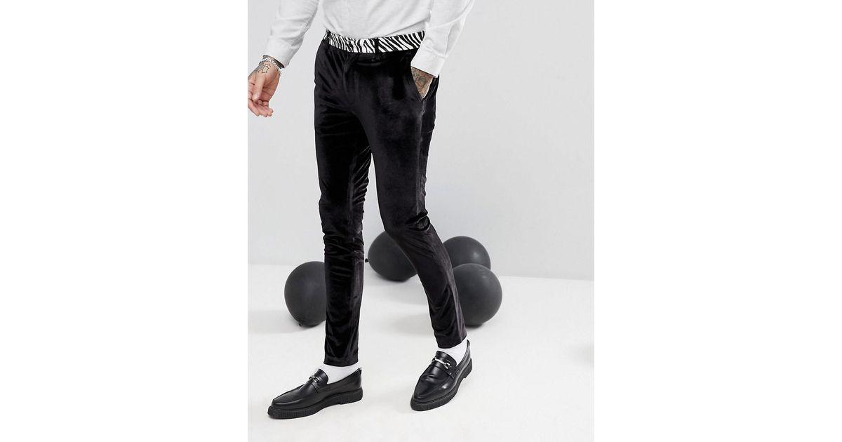 Super Skinny Tuxedo Trousers In Black Velvet Zebra - Black Asos kHvDgLf