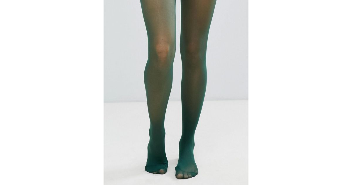 34380ab968c ASOS Recycled 40 Denier Tights In Forest Green in Green - Lyst