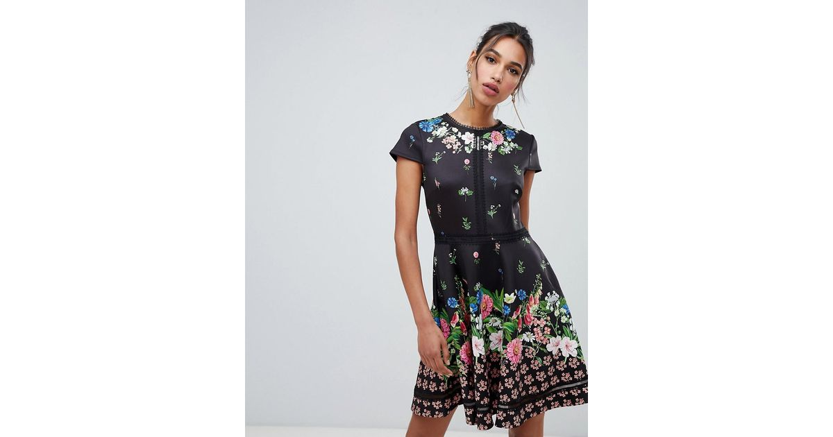 a35f592d7ea4ac Lyst - Ted Baker Daissie Florence Trim Skater Dress