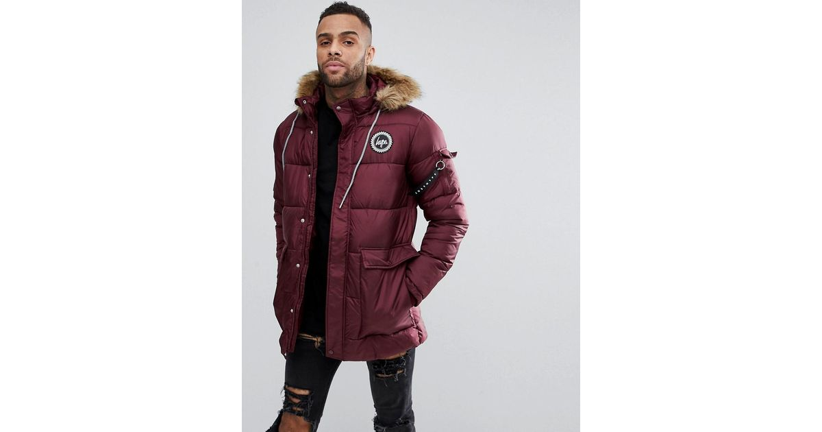 Hype Padded Parka In Burgundy With Faux Fur Hood in Red for Men | Lyst