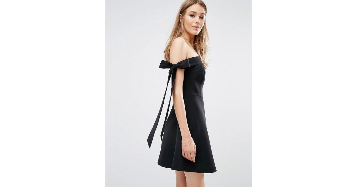 Lyst - Keepsake Off Shoulder Bow Detail Dress in Black