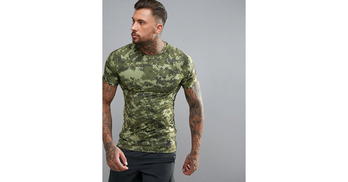 61787886 Nike Pro Hypercool Compression Camo Print T-shirt In Green 828180-387 in  Green for Men - Lyst