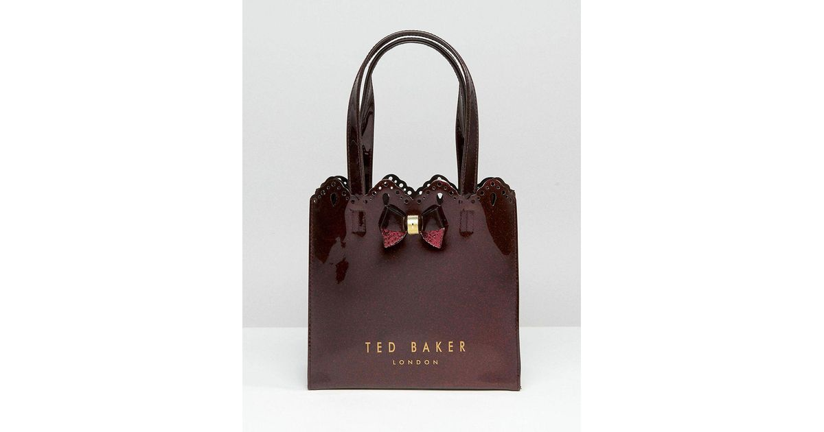 2921ea97f4 Ted Baker Small Icon In Red Glitter With Scallop Detail - Lyst