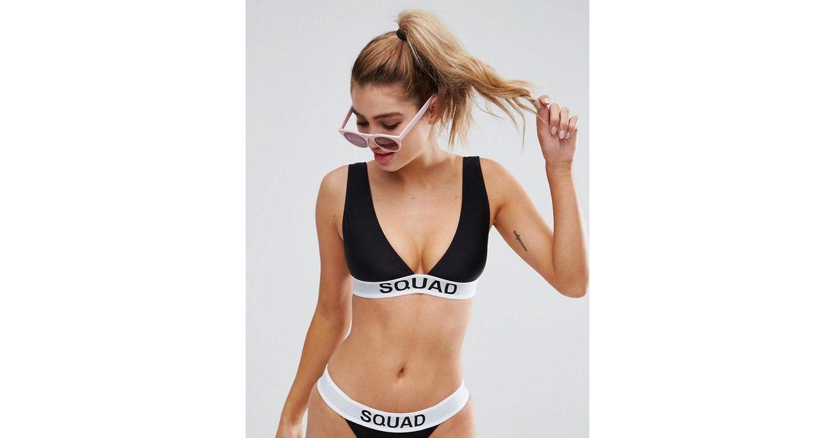 8ffe85abd8eff ASOS Bridal Squad Elastic Slogan Triangle Crop Bikini Top in Black - Lyst
