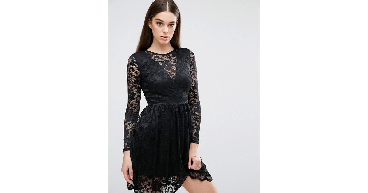 Lyst Club L Long Sleeve Lace Skater Dress With V Front Plunge In Black