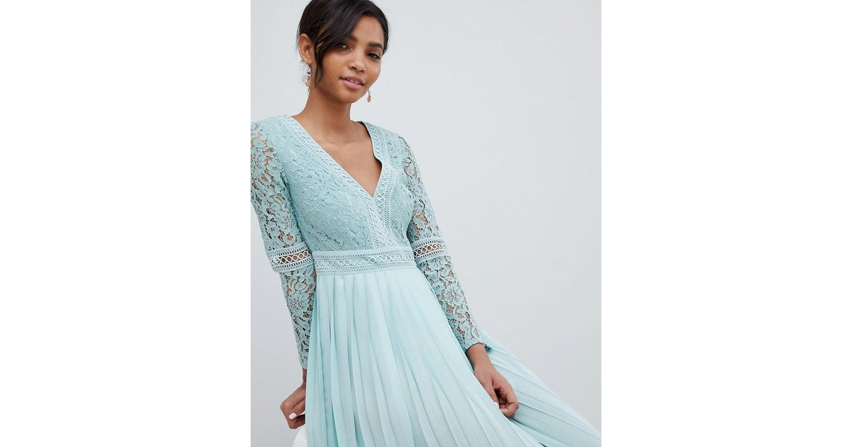 Little Mistress Lace Top Midi Skater Dress With Pleated Skirt In Spearmint  in Green - Lyst eb8d1b2af