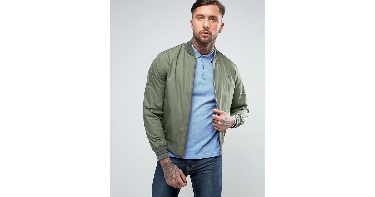 e10b347fe Fred Perry Tramline Bomber Jacket In Olive in Green for Men - Lyst
