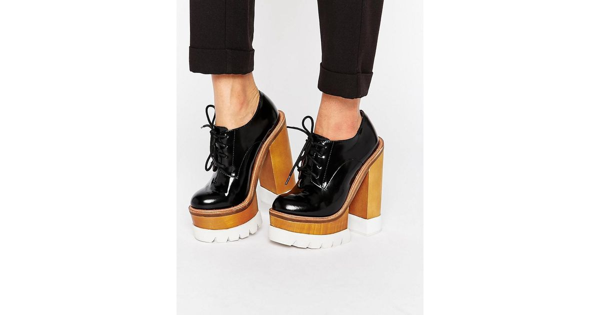 918af07d18a Jeffrey Campbell Mega Platform Chunky Lace Up Leather Heeled Shoes - Black  Box Calf in Black - Lyst