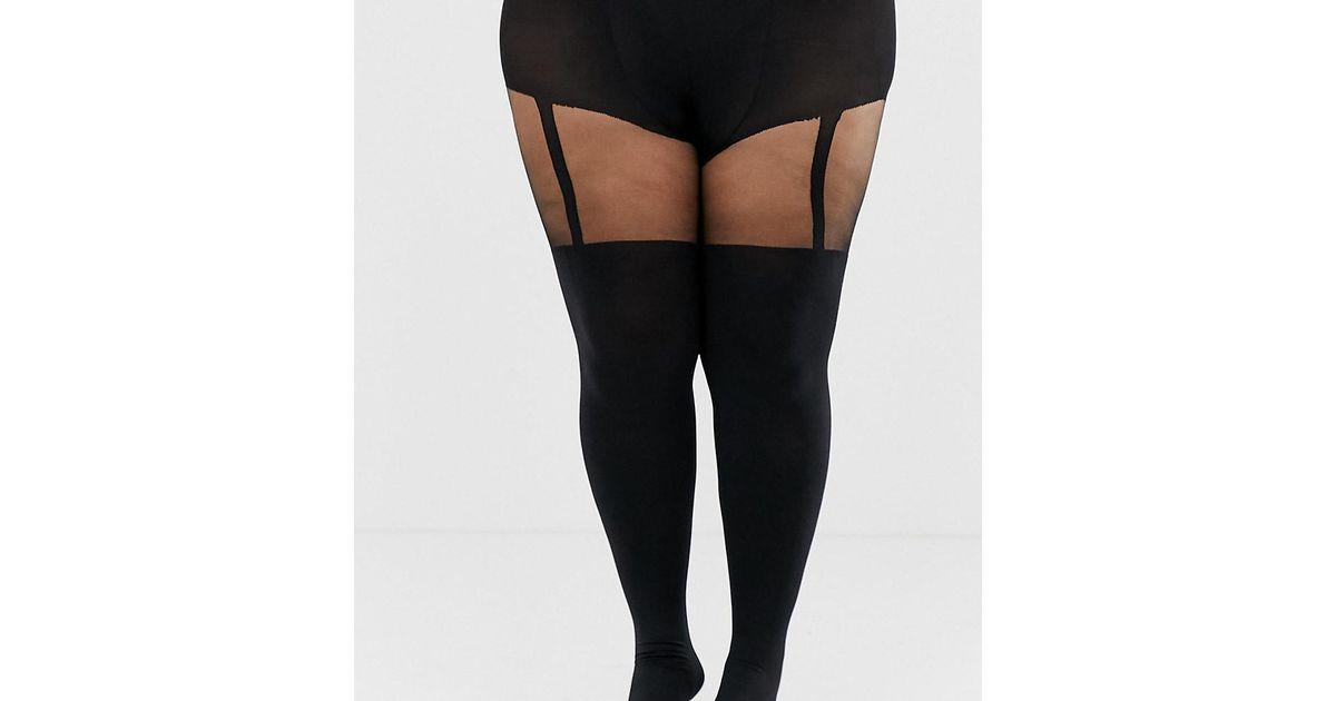 54588db6dd90c Pretty Polly Curve Suspender Tights In Black in Black - Lyst