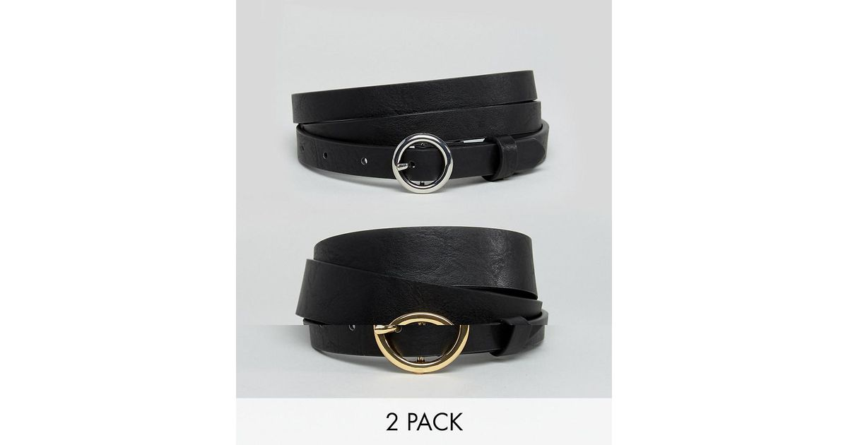 1ca5eee6e30 Lyst - ASOS Asos Design Curve 2 Pack Circle Buckle Waist And Hip Jeans Belts  in Black - Save 31%