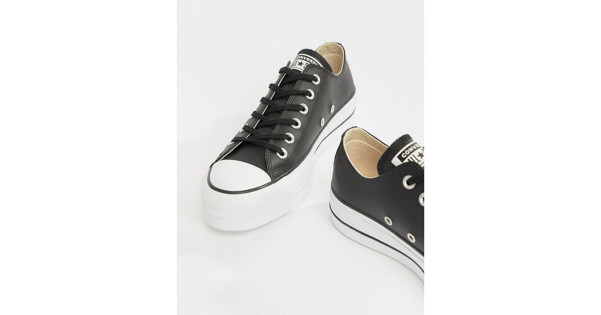 Lyst - Converse Chuck Taylor All Star Leather Platform Low Sneakers In  Black in Black 74ca2835b