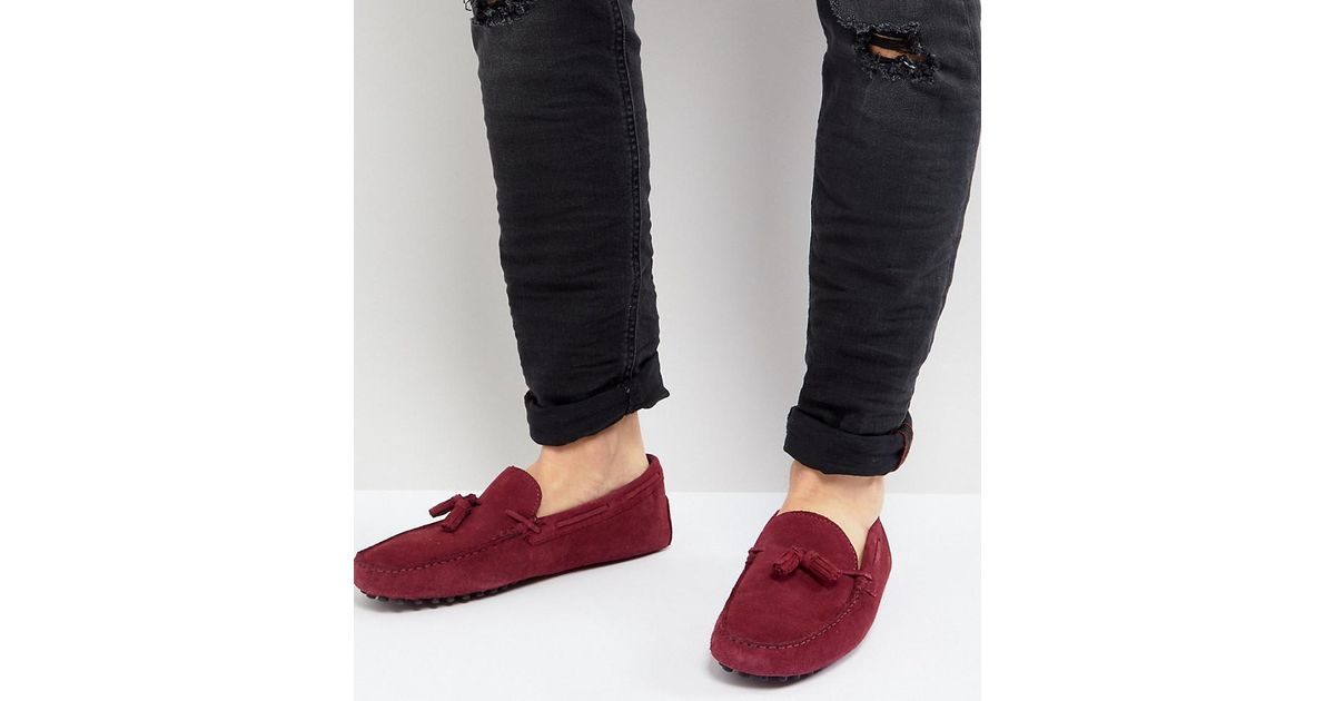 ASOS Wide Fit Driving Shoes In Burgundy Suede With Tassel TiMdZ