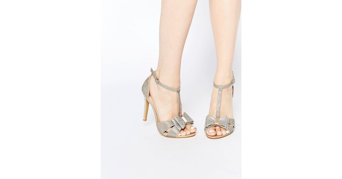 ea6e58b5ab0 True Decadence Gold Glitter Bow Detail Heeled Sandals in Metallic - Lyst
