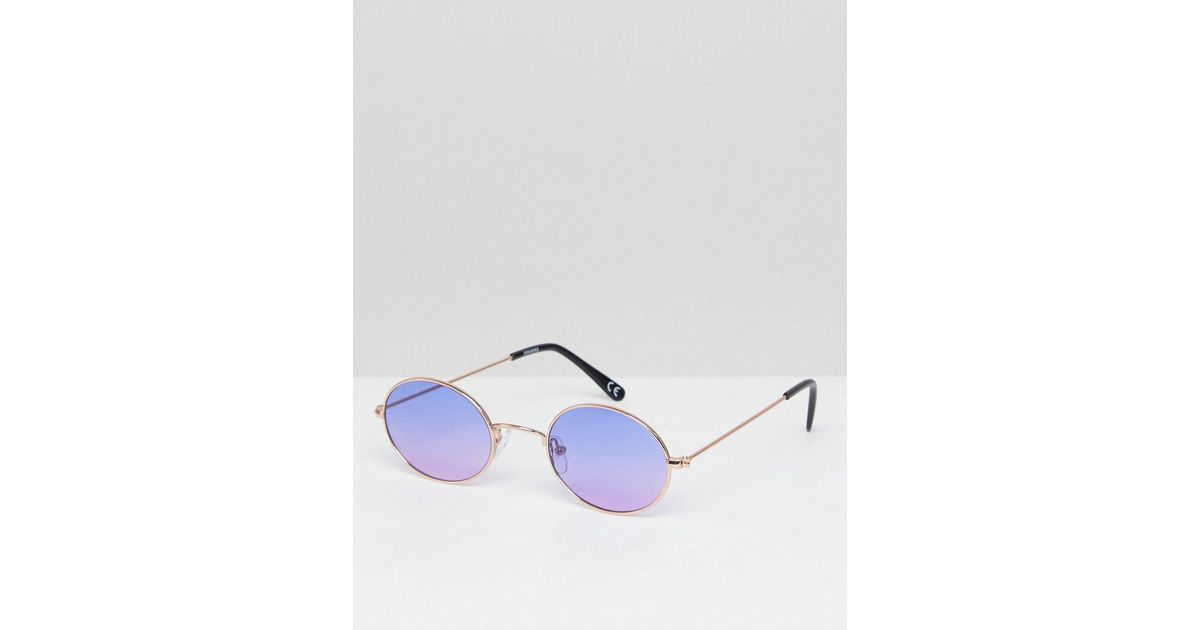 ba97295c11 Lyst - ASOS Round Sunglasses In Gold Metal With Purple Lens in Metallic for  Men