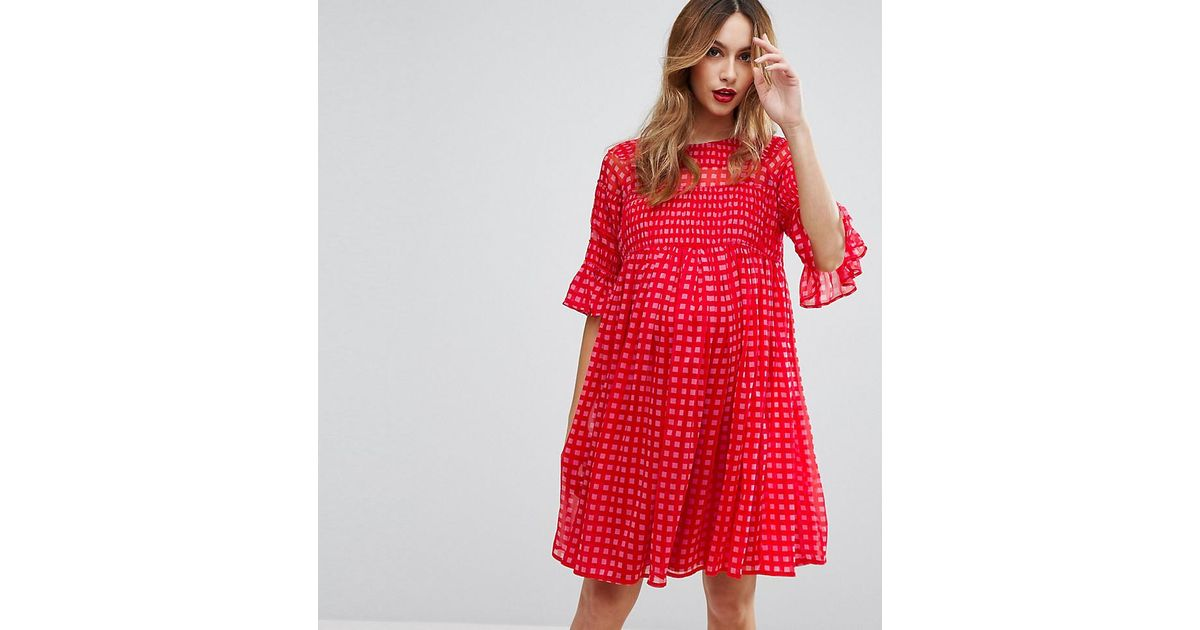 c66b327a3e8f1 ASOS Gingham Smock Dress With Shirring Detail in Red - Lyst