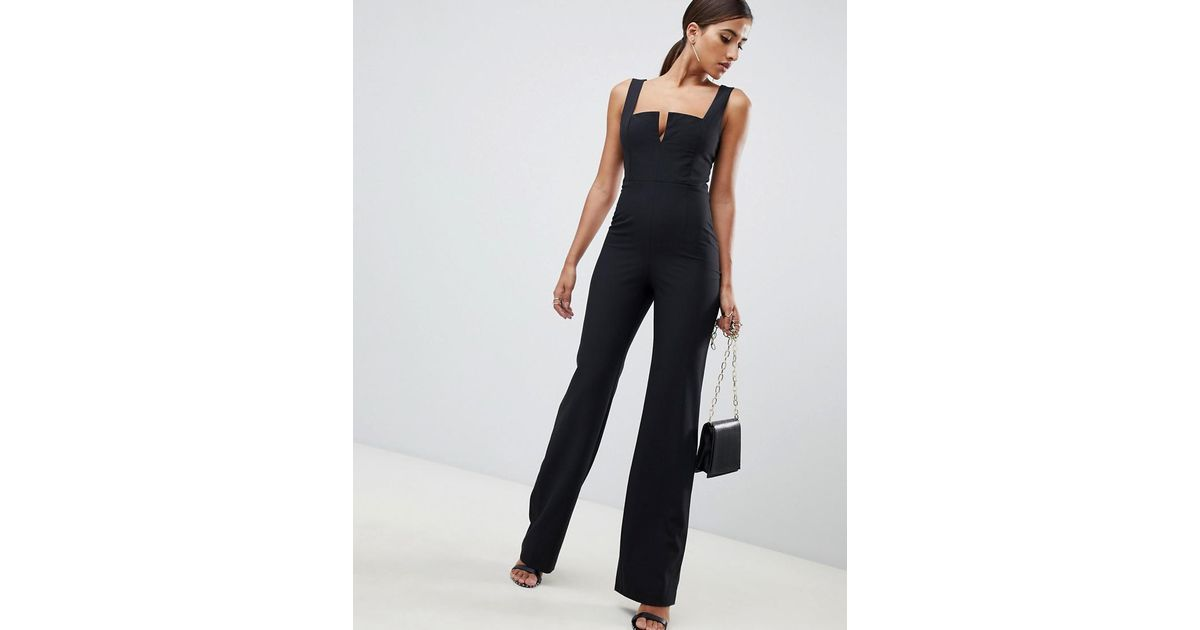 Vesper Plunge Front Wide Leg Jumpsuit In Black In Black Lyst