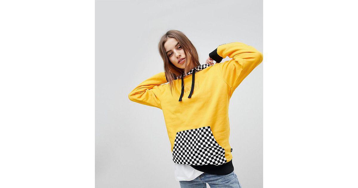 efbe7547710df4 Vans Exclusive Hoodie With Checker Board Hood in Yellow - Lyst