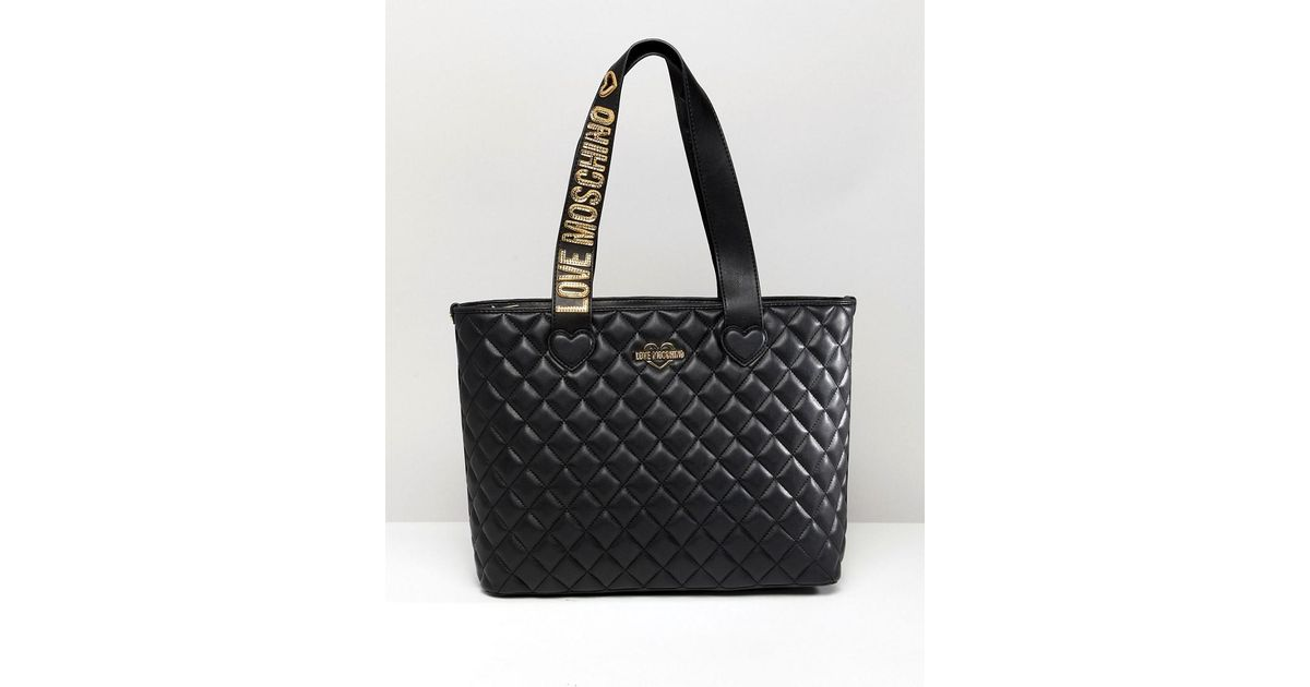 Love Moschino Quilted Tote Bag With Logo Strap in Black - Lyst 2a42240c42e45