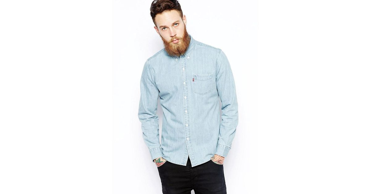 c9c6ff6c847 Levi s Levi s Denim Shirt Classic Slim Fit Button Down Bleach Wash in Blue  for Men - Lyst