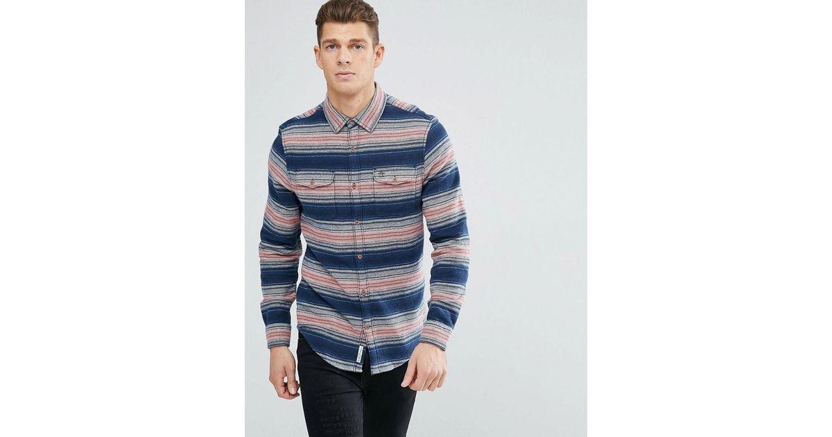 Lyst original penguin over shirt stripe flannel heritage for Women s slim fit flannel shirt