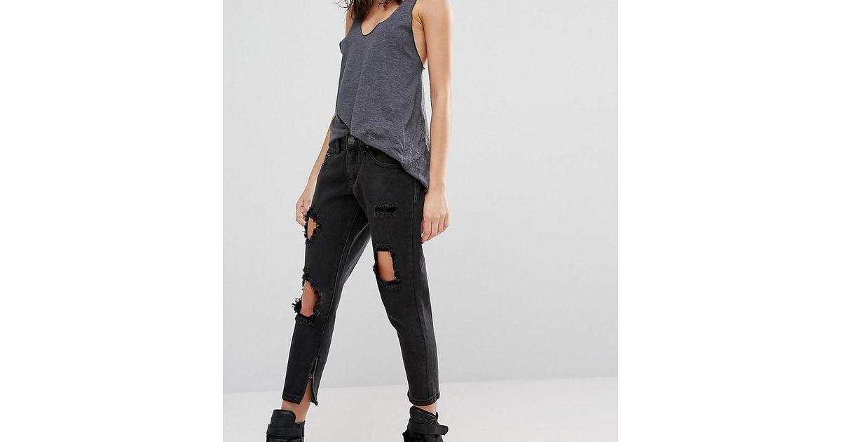 fa3e50964e1 Liquor N Poker Liquor & Poker Petite Skinny Jeans With Extreme Distressing  Ripped Knees in Black - Lyst