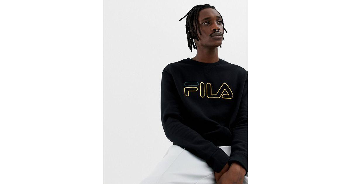 fcd24a261a7c Fila Black Line Basil Sweatshirt With Logo In Black in Black for Men - Lyst