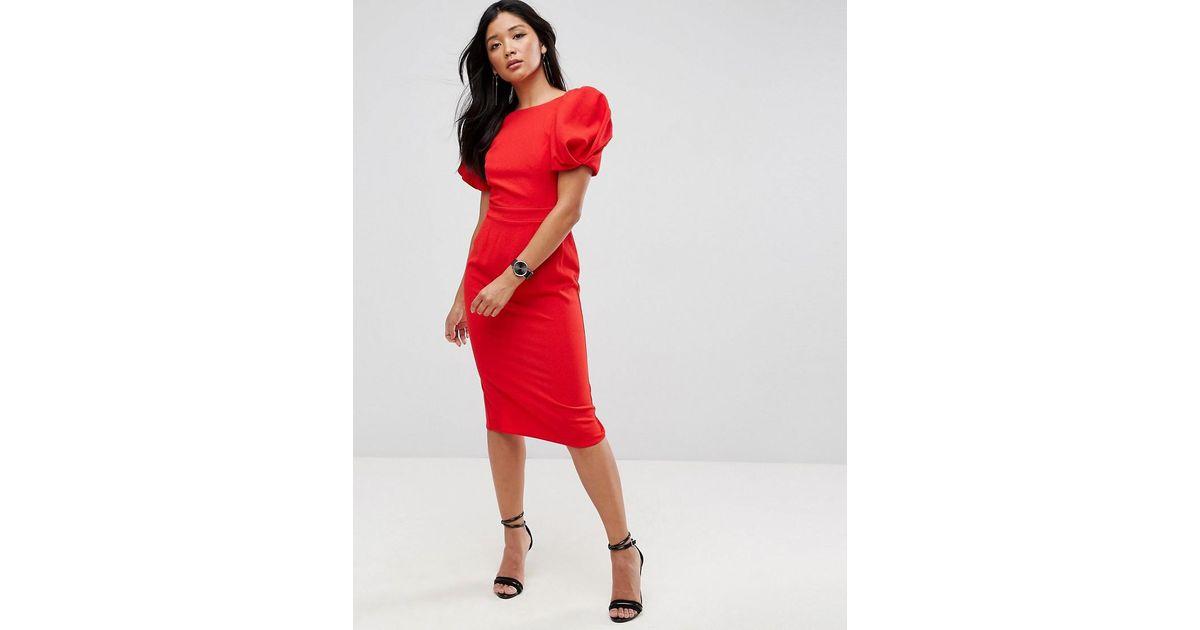 5aa5eec024 ASOS Puff Sleeve Midi Pencil Dress in Red - Lyst