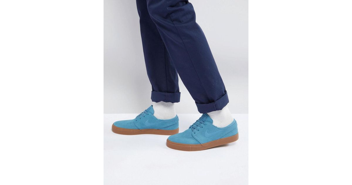 Nike Stefan Janoski Trainers With Gum Sole In Blue 333824-420 in Blue for  Men - Lyst f0946c65e4e1