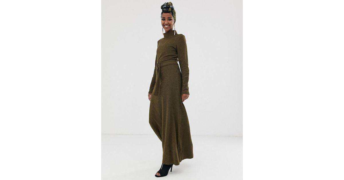1f3076a46c78e ASOS Long Sleeve Maxi Dress With Roll Neck And Self Belt in Green - Lyst