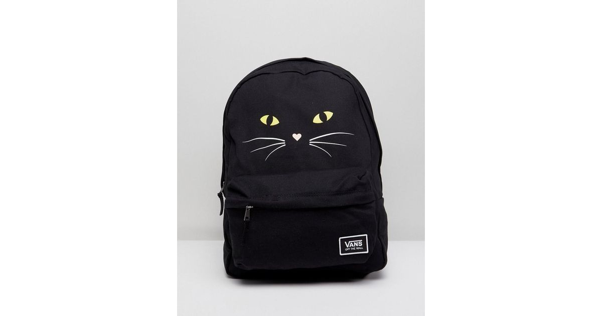 Vans Realm Classic Backpack With Cat Print in Black - Lyst 42524680f41c9
