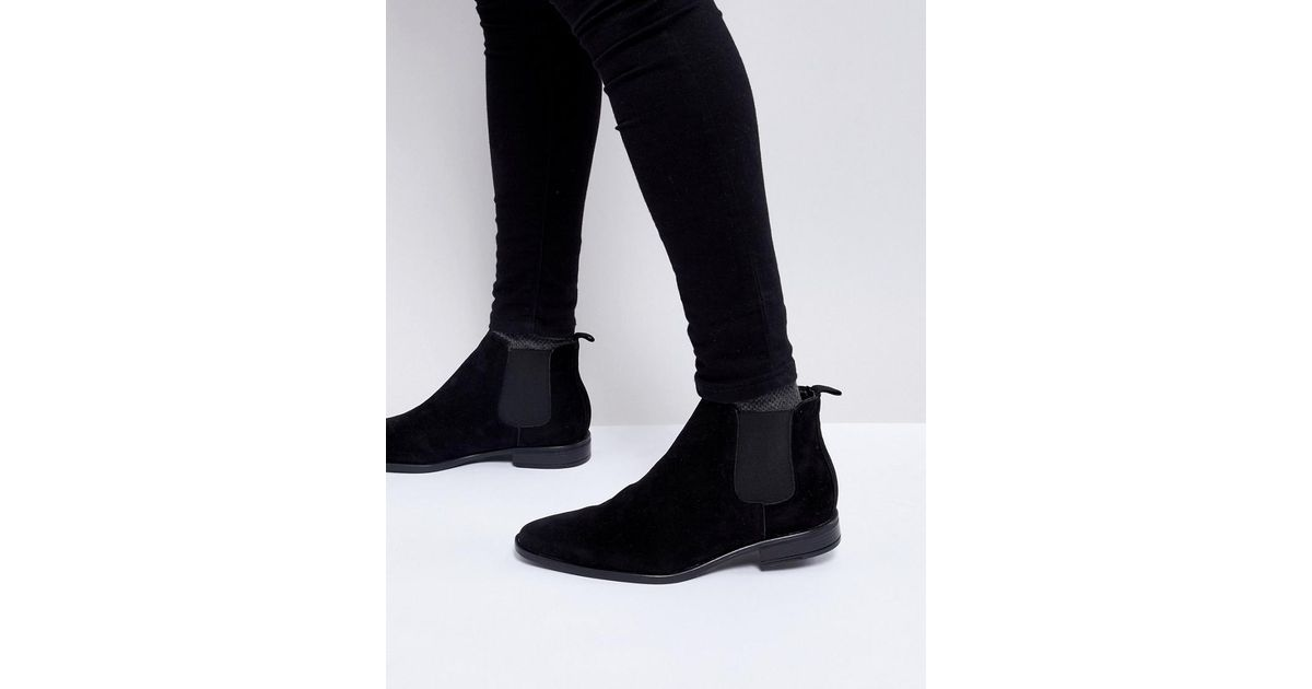 043b30a2b3320 New Look Faux Suede Chelsea Boot In Black in Black for Men - Lyst